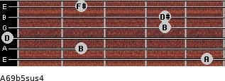 A6/9b5sus4 for guitar on frets 5, 2, 0, 4, 4, 2