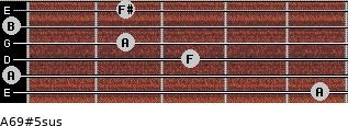 A6/9#5sus for guitar on frets 5, 0, 3, 2, 0, 2