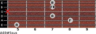 A6/9#5sus for guitar on frets 5, 8, 7, x, 7, 7