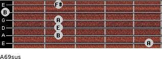 A6/9sus for guitar on frets 5, 2, 2, 2, 0, 2