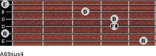 A6/9sus4 for guitar on frets 5, 0, 4, 4, 3, 0