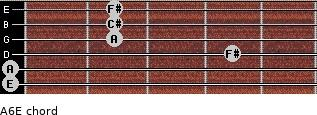 A6/E for guitar on frets 0, 0, 4, 2, 2, 2