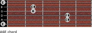 A6/E for guitar on frets 0, 4, 4, 2, 2, 0