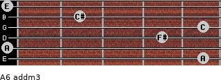 A6 add(m3) for guitar on frets 5, 0, 4, 5, 2, 0