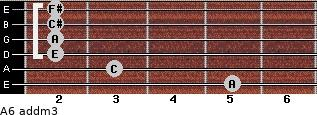 A6 add(m3) for guitar on frets 5, 3, 2, 2, 2, 2