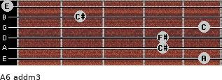 A6 add(m3) for guitar on frets 5, 4, 4, 5, 2, 0