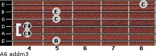 A6 add(m3) for guitar on frets 5, 4, 4, 5, 5, 8
