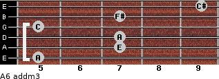 A6 add(m3) for guitar on frets 5, 7, 7, 5, 7, 9