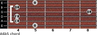 A6b5 for guitar on frets 5, 4, 4, 8, 4, 5