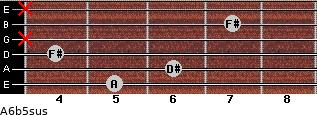 A6b5sus for guitar on frets 5, 6, 4, x, 7, x