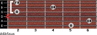 A6b5sus for guitar on frets 5, 6, x, 2, 4, 2