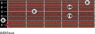 A6b5sus for guitar on frets x, 0, 4, 2, 4, 5