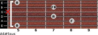A6#5sus for guitar on frets 5, 8, 7, x, 7, 5