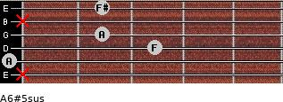 A6#5sus for guitar on frets x, 0, 3, 2, x, 2