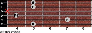 A6sus for guitar on frets 5, 7, 4, x, 5, 5
