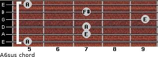 A6sus for guitar on frets 5, 7, 7, 9, 7, 5