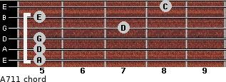 A-7/11 for guitar on frets 5, 5, 5, 7, 5, 8