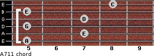 A-7/11 for guitar on frets 5, 7, 5, 7, 5, 8
