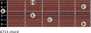 A-7/13 for guitar on frets 5, 3, 2, 0, 5, 2