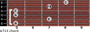 A-7/13 for guitar on frets 5, 7, 5, 5, 7, 8