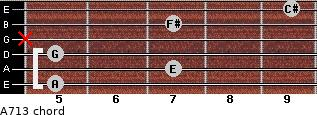 A7/13 for guitar on frets 5, 7, 5, x, 7, 9