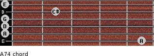 A7(4) for guitar on frets 5, 0, 0, 0, 2, 0