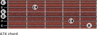 A7(4) for guitar on frets 5, 4, 0, 0, 2, 0