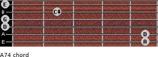A7(4) for guitar on frets 5, 5, 0, 0, 2, 0