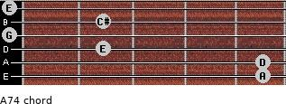 A7(4) for guitar on frets 5, 5, 2, 0, 2, 0