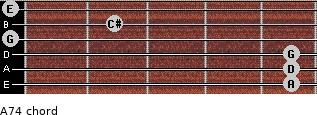 A7(4) for guitar on frets 5, 5, 5, 0, 2, 0