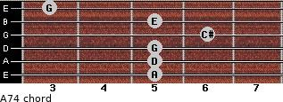 A7(4) for guitar on frets 5, 5, 5, 6, 5, 3