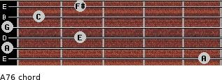 A-7/6 for guitar on frets 5, 0, 2, 0, 1, 2
