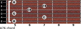 A7/6 for guitar on frets 5, 7, 5, 6, 7, 5