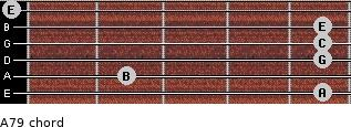 A-7/9 for guitar on frets 5, 2, 5, 5, 5, 0