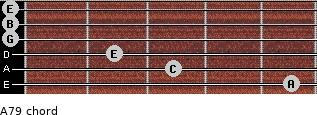 A-7/9 for guitar on frets 5, 3, 2, 0, 0, 0