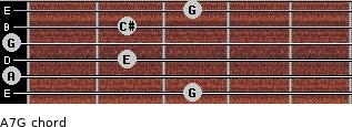 A7/G for guitar on frets 3, 0, 2, 0, 2, 3