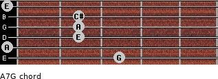 A7/G for guitar on frets 3, 0, 2, 2, 2, 0