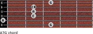 A7/G for guitar on frets 3, 0, 2, 2, 2, 3