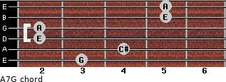 A7/G for guitar on frets 3, 4, 2, 2, 5, 5