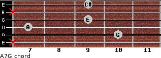 A7/G for guitar on frets x, 10, 7, 9, x, 9