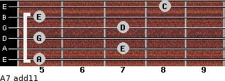 A-7(add11) for guitar on frets 5, 7, 5, 7, 5, 8