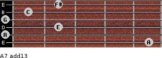 A-7(add13) for guitar on frets 5, 0, 2, 0, 1, 2
