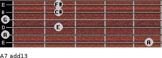 A7(add13) for guitar on frets 5, 0, 2, 0, 2, 2