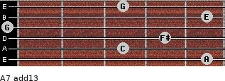 A-7(add13) for guitar on frets 5, 3, 4, 0, 5, 3