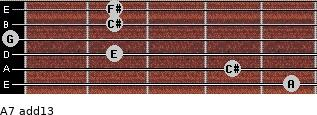 A7(add13) for guitar on frets 5, 4, 2, 0, 2, 2
