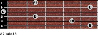 A7(add13) for guitar on frets 5, 4, 2, 0, 5, 2