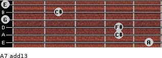 A7(add13) for guitar on frets 5, 4, 4, 0, 2, 0