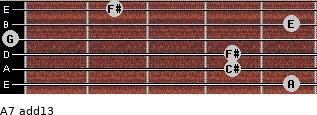 A7(add13) for guitar on frets 5, 4, 4, 0, 5, 2