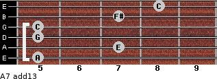 A-7(add13) for guitar on frets 5, 7, 5, 5, 7, 8