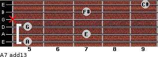 A7(add13) for guitar on frets 5, 7, 5, x, 7, 9